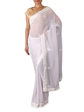 White Embroidered Georgette Saree - By
