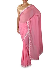 Light Pink Georgette Saree With Embroidered Border - By