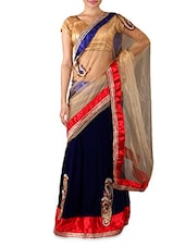 Navy Blue And Beige Velvet Saree - Try N Get