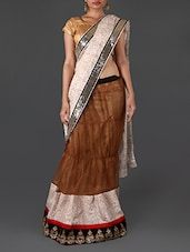 Brown And White Embroidered Lehenga Style Saree - By
