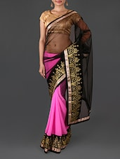 Pink And Black Embroidered Saree - By