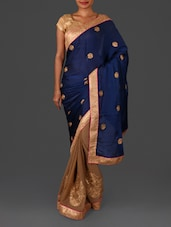 Blue Embroidered Satin Chiffon Saree - Four Seasons