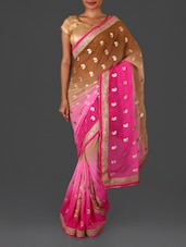 Pink Embroidered Poly Georgette Saree - Four Seasons