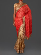 Red Embroidered Poly Net Saree - By