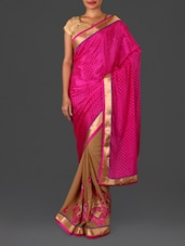 Pink Jacquard Embroidered Poly Georgette Saree - Four Seasons