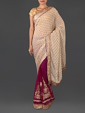 Purple Jacquard Embroidered Poly Georgette Saree - Four Seasons