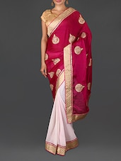 Pink Jacquard Embroidered Satin Chiffon Poly Georgette Saree - Four Seasons