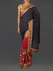 Blue And Pink Embroidered Poly Georgette Saree - Four Seasons