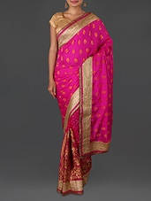 Pink Jacquard Embroidered Poly Georgette Saree - By