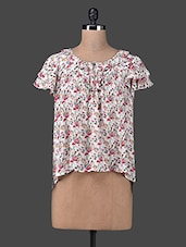 Floral Print Ruffled Sleeves Asymmetrical Top - Envy Me NY