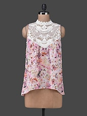 High Neck Lace Yoke Sleeveless Floral Print Top - Envy Me NY