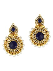Blue Stone & Pearls Embellished Earring - Adiva