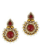 Red Stone & Pearls Embellished Earring - Adiva