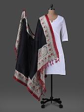 Black Printed Poly Silk Dupatta - Inara Robes