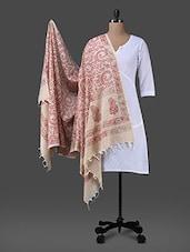 Pink Block Printed Cotton Polysilk Dupatta - Inara Robes