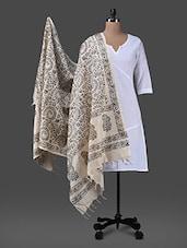 Black Block Printed Cotton Polysilk Dupatta - Inara Robes - 1157310