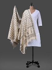 Black Block Printed Cotton Polysilk Dupatta - Inara Robes