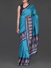 Blue Printed Cotton Poly Silk Saree - Inara Robes