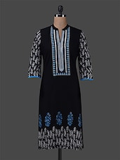 Black Printed Embroidered Cotton Kurta - By