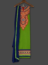 Green  Embroidered Cotton Unstitched Salwar Suit Piece - Khushali
