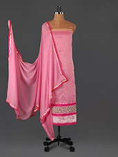 Pink Embroidered Cotton Unstitched Salwar Suit Piece - Khushali