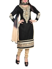White  Embroidered Cotton Unstitched Salwar Suit Piece - Khushali