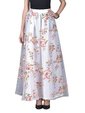 White Organza Floral Print Maxi Skirt - By