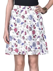 White Rayon Printed Skirt - By