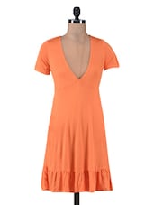 Orange Viscose V-Neck Dress - By