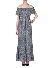 Grey Chiffon Ruffled Printed Maxi Dress - By