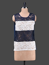 Floral Lace Sleeveless Round Neck Top - Wildrose