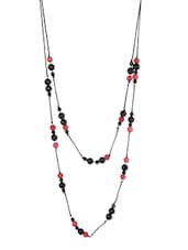 Black Beaded Metallic Two Layered Thread Necklace - THE BLING STUDIO