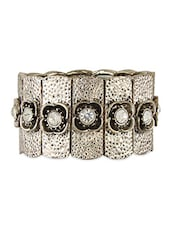 Silver Beaded Metallic Stretchable Bracelet - THE BLING STUDIO