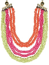 Multicolour Beads Acrylic Metallic Necklace - By