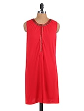 Solid Color Embellished Sleeveless Round Neck Dress - Sepia