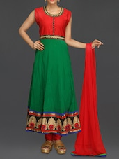 Green And Red Embroidered Suit Set - SareesHut