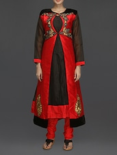 Red And Black Embroidered Suit Set - SareesHut