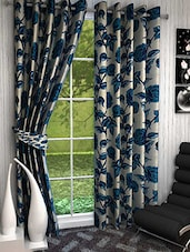 Elegance Blue Roses Print  Window Curtain Set Of 2 - By