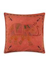 Red Cotton Embroidered Cushion Covers - By