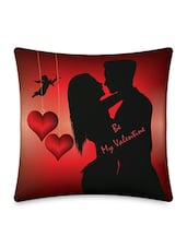 Romancing Couple With Cupid Hearts Printed Cushion Cover - Little India Home