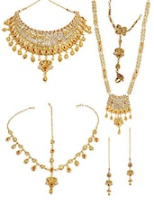 Gold Metal Kundan Bridal Jewellery Set - By