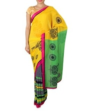 Yellow Georgette Printed Saree - By