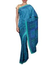 Blue Printed Dani Georgette Sari - By