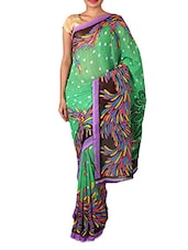 Green Dani Georgette Printed Saree - By - 1158846