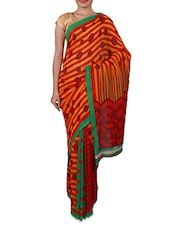 Stripes & Polka Dots Printed Georgette Saree - By - 1158850