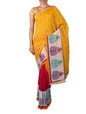 Yellow Faux Georgette Printed Saree - Ambaji