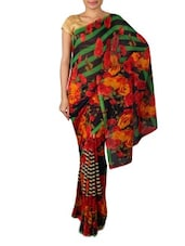 Red Dani Georgette Printed Saree - Ambaji