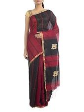 Black And Red Silk Cotton Handwoven Saree - Cattalia