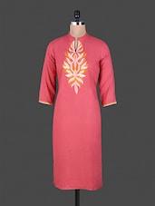 Pink Embroidered Plain Rayon Butta Style Kurti - Aavran