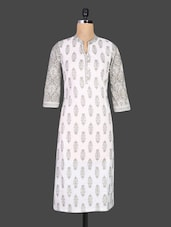 White Quarter Sleeves Printed Cotton Kurta - By